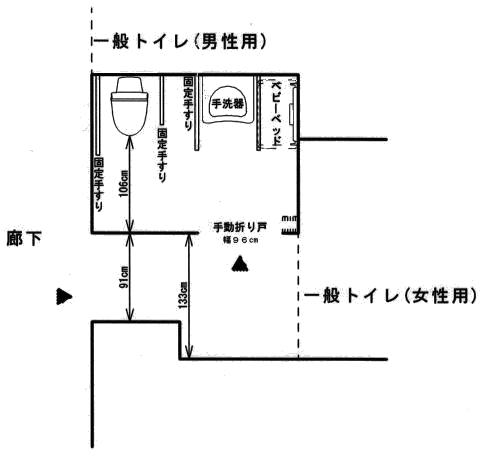 1階車いす対応トイレレイアウト図